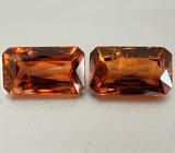 Пара оранжевых цирконов 7,35 карат