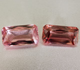 Пара розово-оранжевых цирконов 2,65 карат