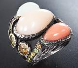 Кольцо с лунным камнем и разноцветными турмалинами
