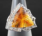Кольцо с цитрином лазерной огранки и бриллиантами