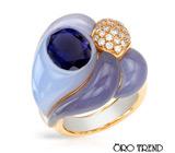"Кольцо от ""Oro Trend"" с иолитом, халцедоном и бриллиантами"
