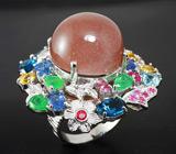 Потрясающее КРУПНОЕ кольцо с лунным камнем и самоцветами! Ручная работа
