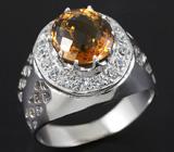 Эффектное кольцо с золотистым цитрином 2,79 карат