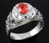 Ажурное серебряное кольцо с ярко-оранжевым сапфиром 0,48 карат