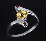 Изящное серебряное кольцо с золотистым цитрином