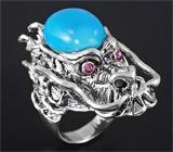 Скульптурное серебряное кольцо «Дракон» c говлитом и пурпурными сапфирами