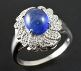 Элегантное серебряное кольцо с кабошоном синего сапфира 1,89 карат