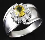 Стильное серебряное кольцо с желтым сапфиром 1,06 карат
