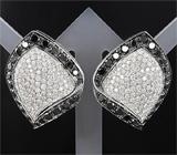 Шикарные золотые серьги с черными и бесцветными бриллиантами
