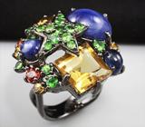 Серебряное кольцо с разноцветными сапфирами, цитринами и цаворитами гранатами