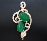 Изящный серебряный кулон с зелеными агатами Серебро 925