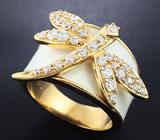 Оригинальное серебряное кольцо с эмалью