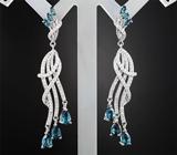 Элегантные серебряные серьги с топазами Серебро 925