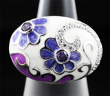 Серебряное кольцо с цветной эмалью