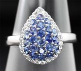 Изящное серебряное кольцо с синими сапфирами