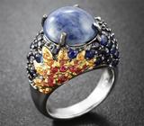 Серебряное кольцо с разноцветными сапфирами