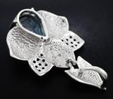 Оригинальный серебряный кулон с голубым топазом и цветной эмалью Серебро 925