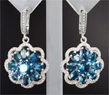 Замечательный серебряный комплект с насыщенно-синими топазами Серебро 925
