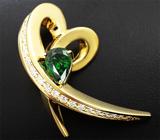 Золотой кулон с топовым цаворитом и бриллиантами