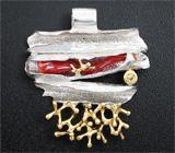 Серебряный кулон с solid кораллом и золотистым сапфиром на шнуре