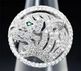 Превосходное серебряное кольцо «Тигр»