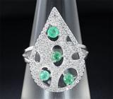 Оригинальное серебряное кольцо с изумрудами