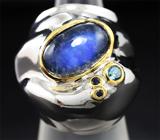 Серебряное кольцо с лабрадоритом, топазом и синими сапфирами