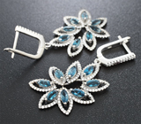 Великолепные серебряные серьги с насыщенно-синими топазами Серебро 925