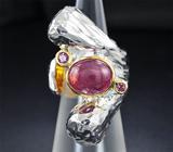 Серебряное кольцо c рубином и родолитами гранатами