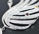 Серебряное колье «Лебедь» с разноцветными сапфирами, топазами и перидотом Серебро 925