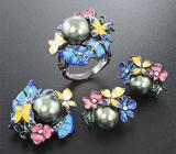 Роскошный серебряный комплект с цветным жемчугом и эмалью