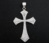Стильный серебряный кулон-крест