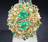 Авторское золотое кольцо с изумрудами и бриллиантами