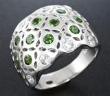 Широкое серебряное кольцо с диопсидами