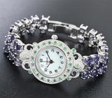 Часы с цаворитами на серебряном браслете с иолитами Серебро 925