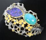 Серебряный браслет с амазонитом, австралийским дублет опалом и синими сапфирами
