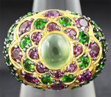 Серебряное кольцо с пренитом, родолитами и цаворитами