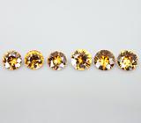 Набор из 6 золотистых цирконов 5,78 карат
