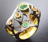 Серебряное кольцо с изумрудами и сапфирами