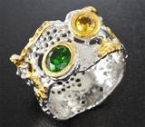 Серебряное кольцо с хромдиопсидом и сфеном