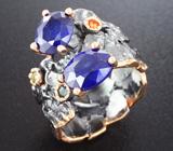 Серебряное кольцо с разноцветными сапфирами Серебро 925
