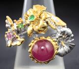 Серебряное кольцо с рубином 3,38 карат, сапфирами и цаворитами