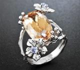 Золотое кольцо с крупным морганитом 9,98 карат и танзанитами