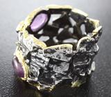 Серебряное кольцо с аметистами и диопсидом Серебро 925