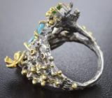 Серебряное кольцо с голубыми топазами, диопсидами и родолитами Серебро 925