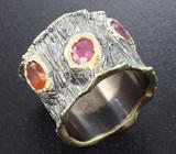 Серебряное кольцо с рубинами и мексиканским опалом