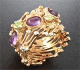 Серебряное кольцо с аметистами и перидотами Серебро 925