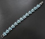 Великолепный серебряный браслет с голубыми топазами Серебро 925