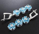 Великолепные серебряные серьги с голубыми топазами и бесцветными топазами Серебро 925