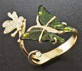Золотое кольцо с резными зелеными турмалинами 1,67 карат и 11 бриллиантами Золото